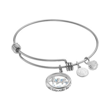 love this life ''Friends'' Floating Charm Bangle Bracelet (White)