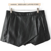 Black Casual Asymmetrical Shorts -SheIn(Sheinside)