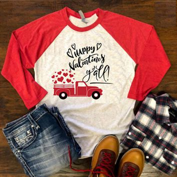 Woman's Happy Valentines Day Y'all Vintage Truck Baseball T-Shirt