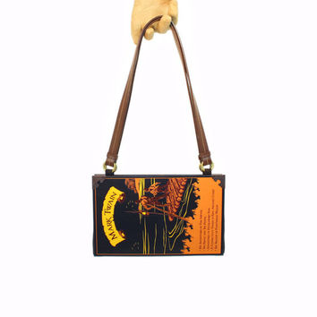Mark Twain Book Purse - Decadence Bookpurse handbag or brown clutch -