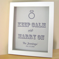 Gray Wedding Sign KEEP CALM and Marry On by PurplePeonyCouture on Etsy