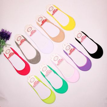 Women Summer Thin Models Shallow Mouth Invisible Cotton Boat Socks Female Solid Color Sock Slippers 1ot=5pairs