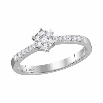 10kt White Gold Women's Round Diamond Flower Cluster Stackable Band Ring 1-5 Cttw - FREE Shipping (US/CAN)