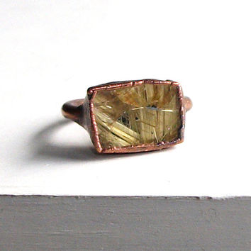 Quartz Ring Gemstone Ring Cocktail Ring Rutile by MidwestAlchemy