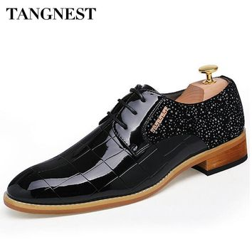 Tangnest Brand Men Formal Dress Shoes Man Fashion Pointed Toe Wedding Shoes New Business Flats Male PU Leather Shoes XMP627