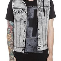 Rude Grey Denim Hooded Vest - 166799