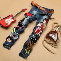 Personality Embroidery Beauty Badge Patch Jeans Men Ripped Jeans Fashion Brand Biker Jeans Hip Hop Denim Slim Fit Casual Pants