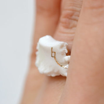S A L E / Seti, porcelain ring, glazed and painted with gold, one of a kind (OOAK), Porcelain jewelry
