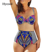 Tribal Totem Print Bikini Set Striped Bathing Suit,Junior Girls Swimsuit Highwaist Swimsuit,High Waist Push Up Swimwear Pinup
