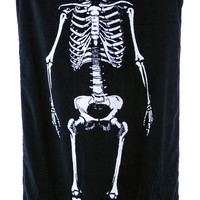 Sourpuss Clothing Skeleton Beach Towel Black One