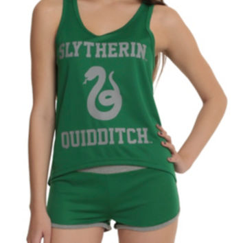 Harry Potter Slytherin Quidditch Mesh Lounge Tank Set