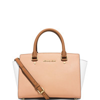 Selma Medium Tri-Tone Satchel Bag, Nude/White/Peanut - MICHAEL Michael Kors