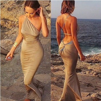 Ladies single shoulder wrap chest backless hip pack beach sexy dress = 1956586564