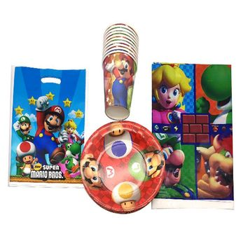 Super Mario party nes switch 31PCS  Theme Plastic Tablecover Happy Baby Shower Kids Favors Birthday Party Plates Paper Cups Decorate Gifts Bags AT_80_8