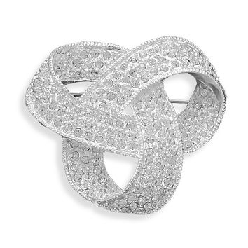 Bridal Pin Silver Plated Crystal Love Knot