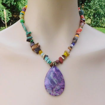 Boho Necklace Sundance Jewelry Purple Agate Pendant Mixed Beads Tigers Eye Jasper Turquoise Red Coral Wood Jade Dragons Vein Green Brown Red
