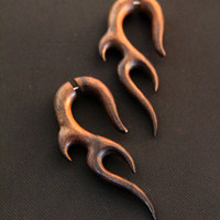 "Wood Earrings, ""Root of Trisula"" Tribal Fake Gauges Wood Earring Made from Rose Wood FGW-0075"