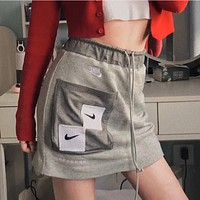 Nike Women's Sexy Grey Embroidered Skirt A-Line Skirt