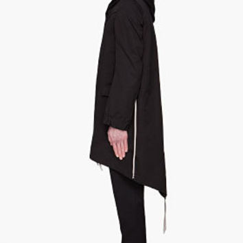Rick Owens Black Hooded Fishtail Parka for men | SSENSE