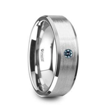 Brushed Finish Tungsten Carbide Wedding Band with Blue Diamond, Beveled Edges