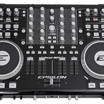 EPSILON QUAD-MIX 4-Deck MIDI USB DJ Controller+Mixer+Soundcard+Software  - Black