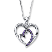 Purple Diamond Necklace 1/6 ct tw Round-cut Sterling Silver