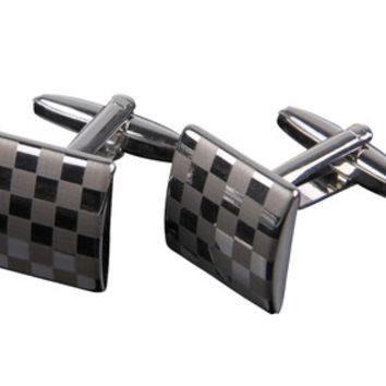 Elegant Silver and Gray Checkered Cufflinks