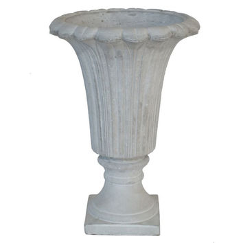 "Benzara 16080 12"" Cement Footed Urn"