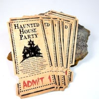 Halloween Party Invitations, Haunted House Party Invitations, Unique, Custom Invitations, Halloween Invites