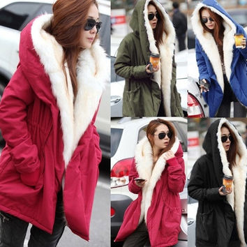 Women Winter Large Fur Collar Hood Thicken Coat Jacket Parkas Outerwear Size S-XXL
