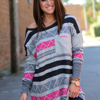 Gray + Fuchsia Tribal {Oversized Knit}