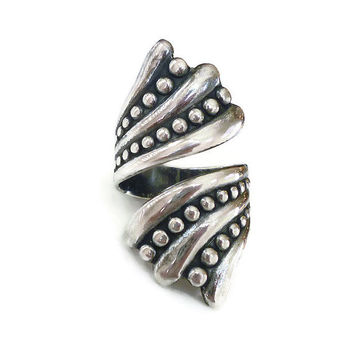 Balderas Sterling Ring, Taxco Mexico, Silver 925, Bypass Ring, Mexican Artisan, Boho Chic, Vintage Jewelry