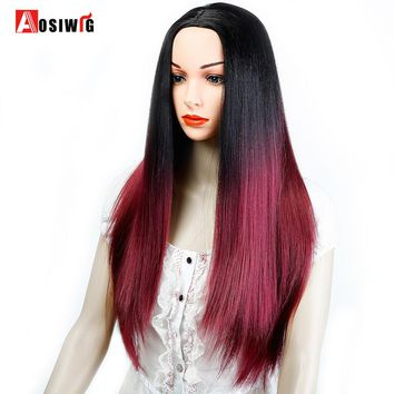 Black Red Long Straight Hair Wig