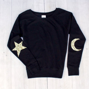 Star and Moon Elbow Patch Sweatshirt - The Luna Elbow Patch Sweatshirt
