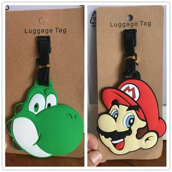 Super Mario party nes switch  Bros cartoon PVC cosplay Key chain creative soft rubber luggage tag boarding pass bag tags hanging ornaments bags AT_80_8
