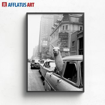 Llama New York Time Square Wall Art Canvas Painting Nordic Posters And Prints Vintage Poster Wall Pictures For Living Room Decor