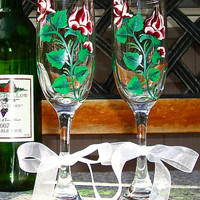 Hand Painted Wine Glasses With Red and White Roses