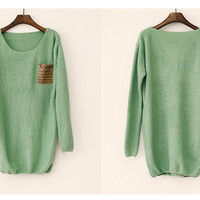 Light Green Patchwork Leather Alphabet Pocket Sweater