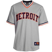 MLB Detroit Tigers Men's Big and Tall Gray Road Cooperstown Cool Base Pullover Jersey