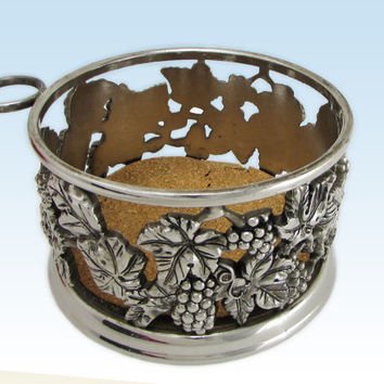 Grape Repoussé Silver Plated Champagne Wine Bottle Coaster Caddy with Stopper Holder, Silverplate