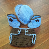 Baby crochet cowboy, Halloween baby set, infant crochet set, cowboy hat boots diaper cover, baby gift set, boy girl crochet, newborn costume