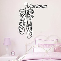 Wall Decals Name Vinyl Decal Ballerina Sticker Home Art Mural Interior Design Custom Girl Personalized Name Decals Ballerina Decal Ballet Pointes Dance Studio Decor Dancing Shoes Kids Nursery Decal Baby Room Bedding Decor KT132
