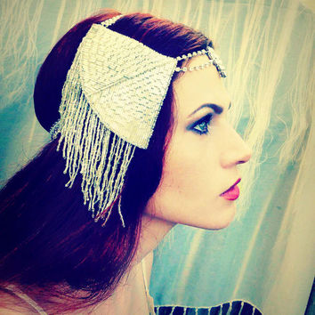 Great Gatsby Art Deco Rhinestone Headpiece - Vintage Silver Fringe Flapper Headdress - Wedding Bridal Burlesque Costume