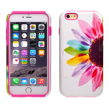 For Apple iPhone 6/6s Plus Dual Layer Credit Card Hybrid Case With Design, ID Holder with Kickstand - Vivid Sunflower