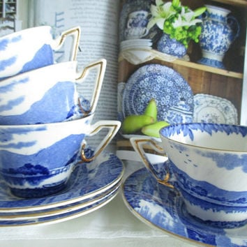 Vintage Burleigh Ware 8 pc. teacup set, blue and white Britian Beautiful teacups, English Garden Tea Shop tea set, excellent condition