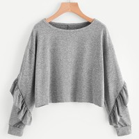 """Tulip"" ruffle detail pullover crop sweater"