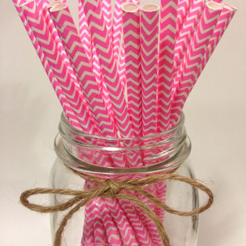 25 Pink Chevron paper straws // baby bridal shower decorations // candy dessert buffet table // wedding // First birthday/new year party
