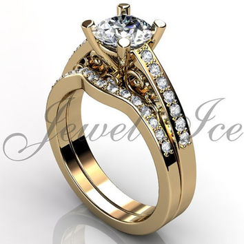 Engagement Ring Set - 14k Yellow Gold Diamond Unique Art Deco Filigree Scroll Wedding Band Engagement Ring Set Bridal Set ER-1122-2