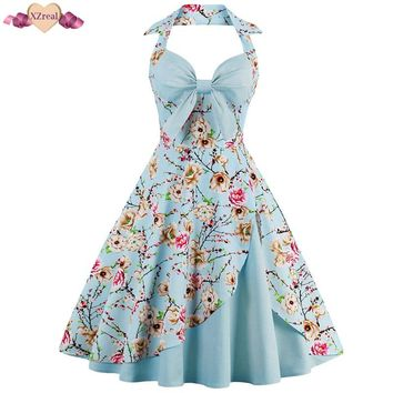 XZreal Pin Up Print Evening Party Dress Women Summer Retro Rockabilly Dress Sexy Backless Patchwork Bow Swing Cotton Robe Z3D37
