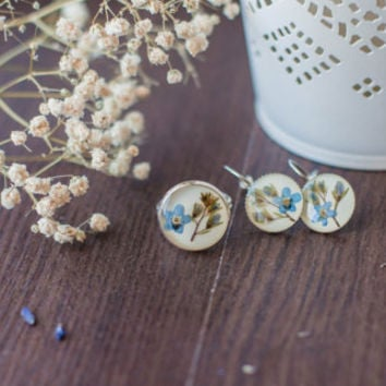 Earrings and ring with forget-me-nots